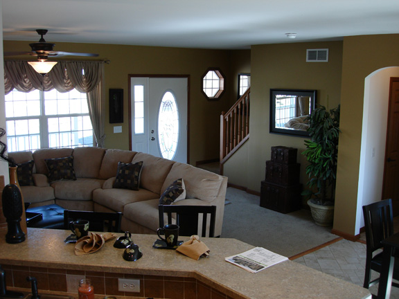 Ridgefield Cape Two Story Combination Kitchen To Living Room Photo