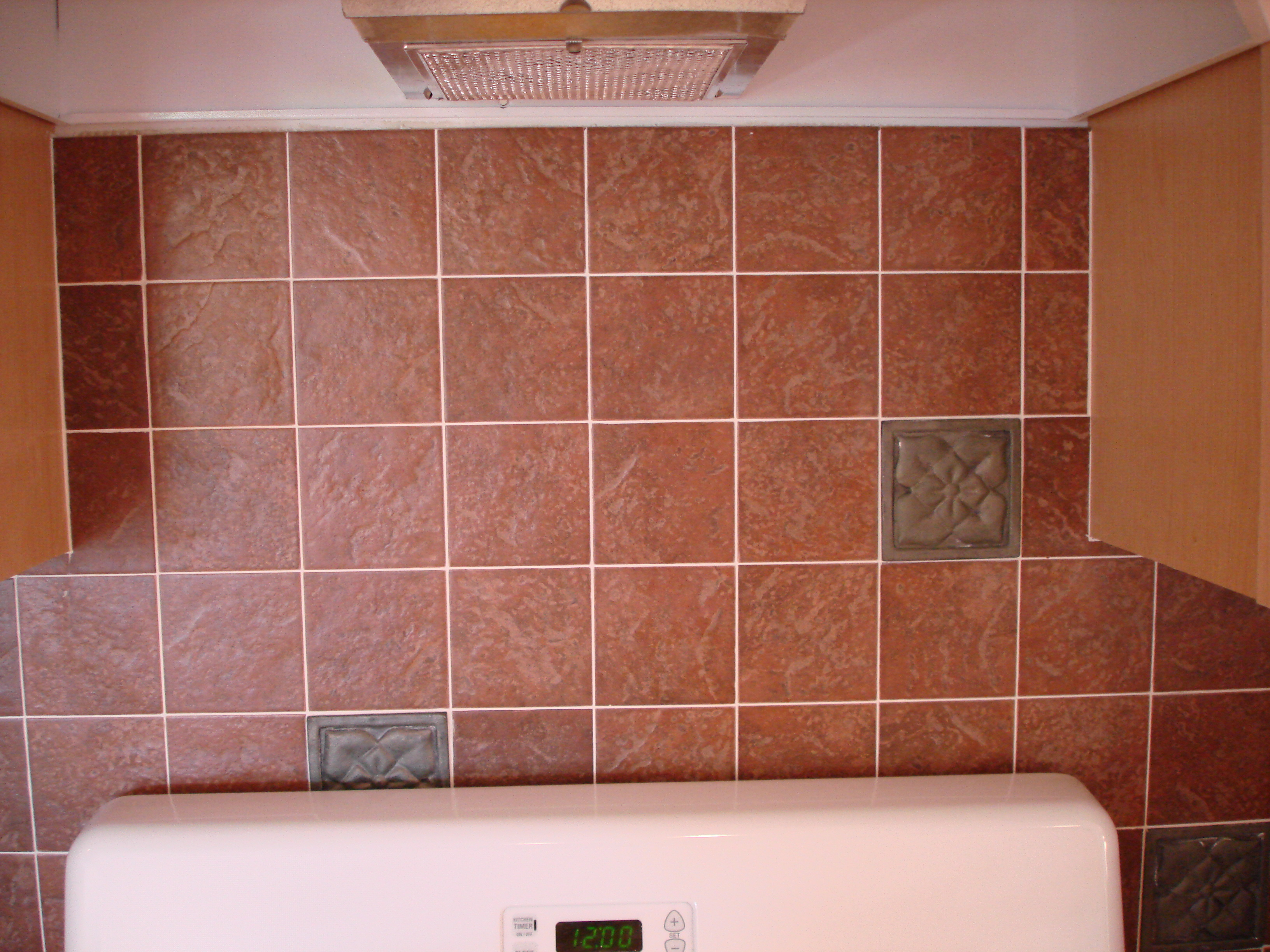 sample of optional ceramic tile backsplash in the kitchen